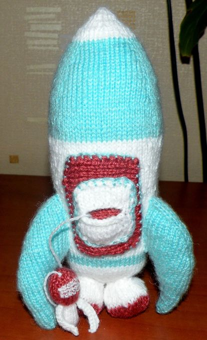 knitted rocket & astronaut