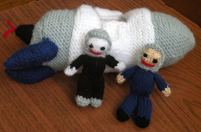 knitted space shuttle astronauts