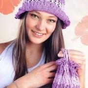 purple hat and bag