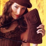 the bag top and Brown beret