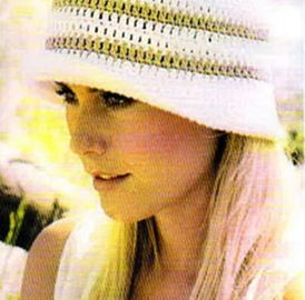 weißer Hut mit Beige Streifen