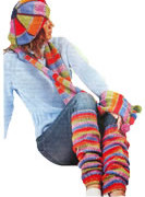 Beret, Scarf and knitted gradient leggings