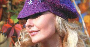 sapca violeta crosetata cu stelute