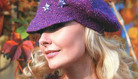 purple striped hat with stars