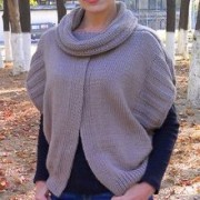 Poncho with high collar