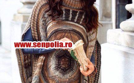 Pelerina tricotata in stil etno