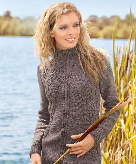 Pullover mit Aran-Muster auf der diagonalen