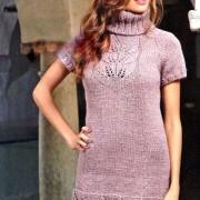 ögla krage klänning hög modell