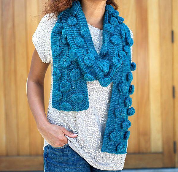 Polka dot Scarf knitting