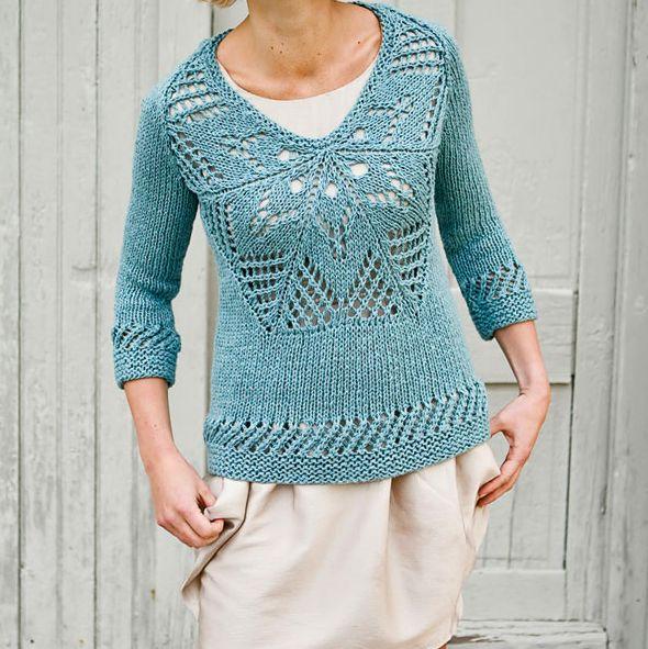 Strick-Pullover mit Blumenmotiv