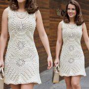 Dress from crocheted motifs