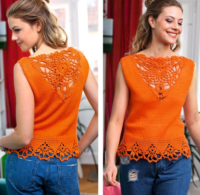 Crocheted blouse in knooking style
