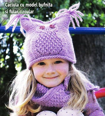 Hat with owl pattern and circular scarf