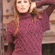 Vesta bordo tricotata cu model Aran
