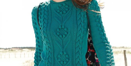 Sweater with flowers and Aran pattern