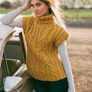Vesta aurie tricotata cu fir gros