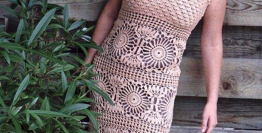 Crocheted dress with circular motifs