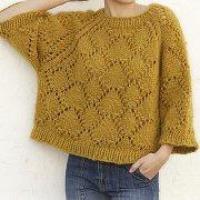 Pulover larg tricotat din fir gros