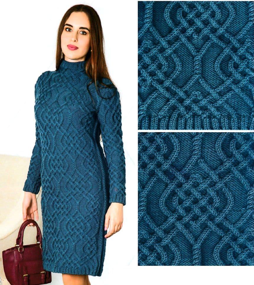Rochie tricotata cu model Aran