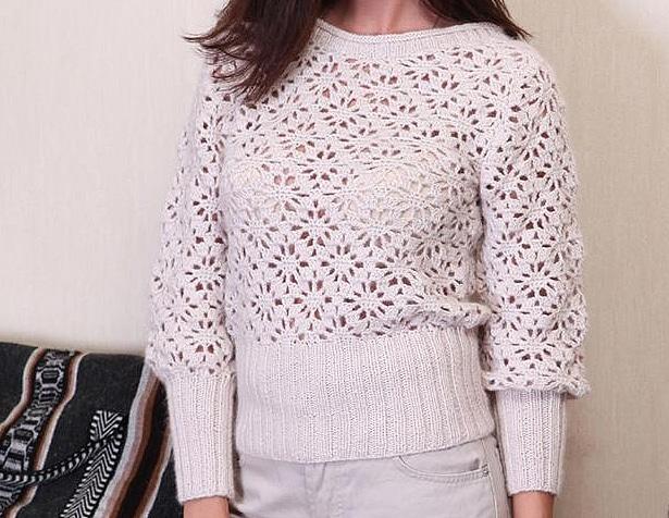 crocheted openwork sweater